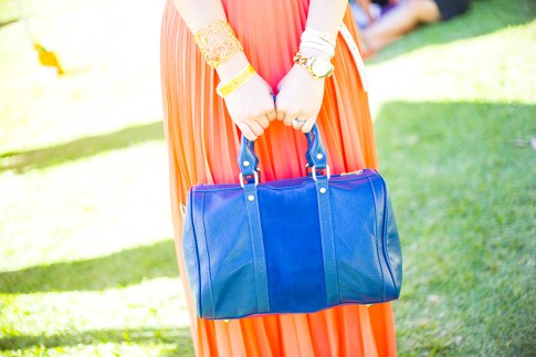 Womens Fashion Veuve Clicquot Polo Classic 2013 Los Angeles - An Dyer HautePinkPretty wearing Orange Chiffon Pleated Maxi, Sole Society Kaylin Navy Tote, Alexis Bittar Cuff, Hermes Hapi, Express Bracelet w