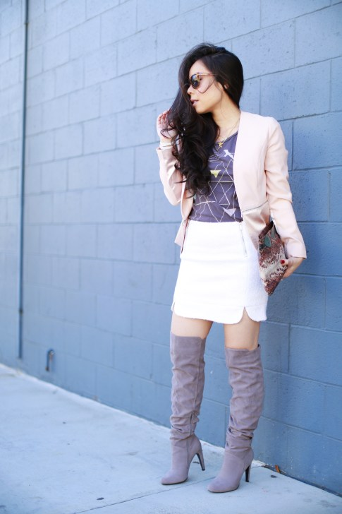 pink blazer white mini skirt