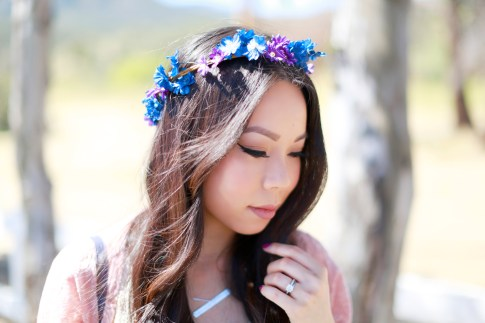 An Dyer wearing Purple Blue Flower Crown Coachella Street Style