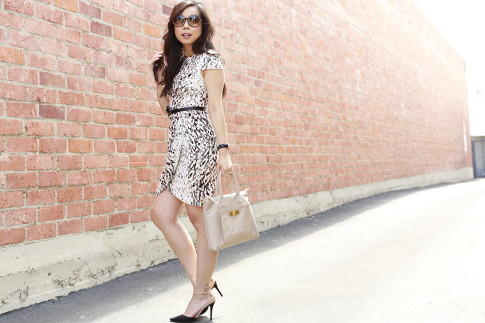 An Dyer wearing Bebe Spring Dress, Tom Ford Big Round Sunglasses, Kate Spade Bow Belt, Shoedazzle Pumps and Onna Ehrlich