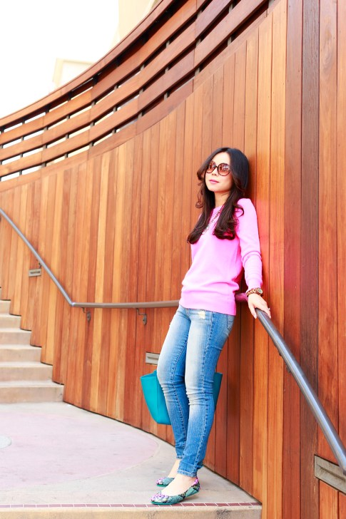 An Dyer wearing Foster Grant, White Warren Hot Pink Cashmere Sweater with Hart Denim jeans and Tieks
