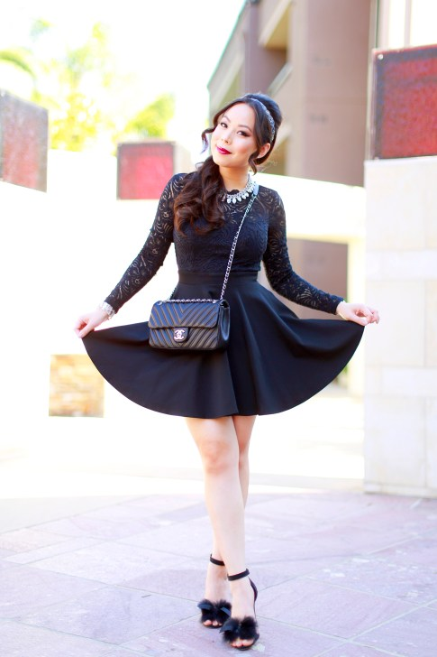 An Dyer wearing Bebe Black Lace Skater Dress with Fur Sandals and Chanel Like A Chevron QUilted Black Flap