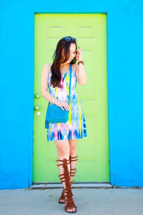 Blogger wearing Gucci Soho Disco, Tart Collections Harper Dress with Steve Madden VILLANO Fringe Gladiator Sandals