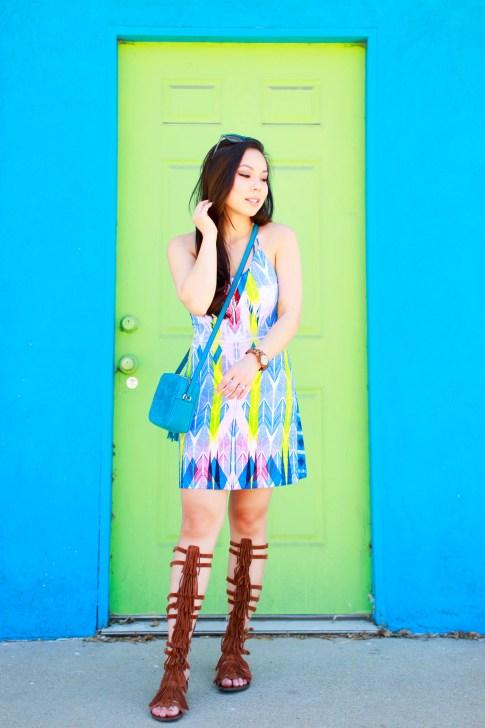 Blogger wearing Tart Collections Harper Dress with Steve Madden VILLANO Fringe Gladiator Sandals