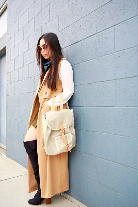 An Dyer wearing Sleeveless Trench Duster, Harper Ave Mini Le Corb
