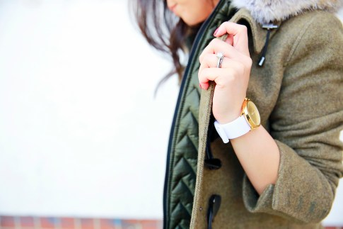 An Dyer wearing Dawn Levy Waverly, Tacori Engagement Wedding Ring, 1Face Watch