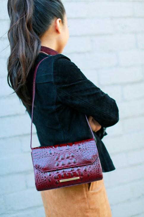 An Dyer wearing Brahmin Carina Shoulder Bag Carmine Red Melbourne