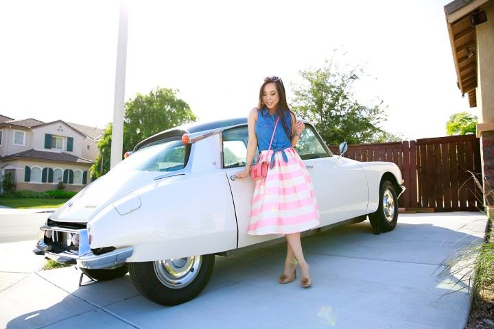 An Dyer wearing Chicwish Candy Pink Striped Full Midi Skirt and Louis Vuitton Louise Corail, 1971 Citroen DS 21