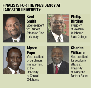 The Four Candidates for Langston University President: Philip Birdine, Myron Pope, Kent Smith & Charles Williams. (Brian Vadakin)