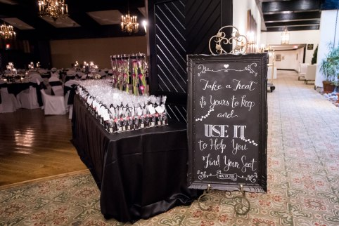 Wedding favour table with handwritten chalkboard sign at Toronto Wedding