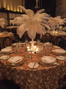 Beautiful white feather centerpiece on tables at Toronto Wedding Reception