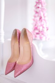 Pink Glitter Louboutin Wedding Shoes
