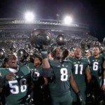 EAST LANSING, MI - SEPTEMBER 12: The Michigan State Spartans react after defeating the Oregon Ducks 31-28 at Spartan Stadium on September 12, 2015 in East Lansing, Michigan. (Photo by Streeter Lecka/Getty Images)