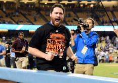 October 15, 2015; Los Angeles, CA, USA; New York Mets second baseman Daniel Murphy (28) celebrates the 3-2 victory against Los Angeles Dodgers following game five of NLDS at Dodger Stadium. Mandatory Credit: Richard Mackson-USA TODAY Sports