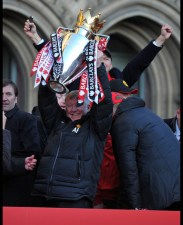 Former United Manager Sir Alex Ferguson after winning United's last Premier League title in '13. Source: PacificCoastNews.com