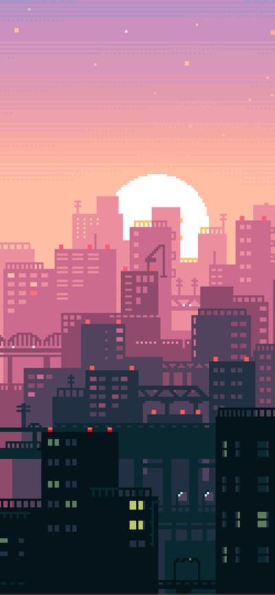 1125x2436 8 Bit Pixel Art City Iphone XS,Iphone 10,Iphone ...