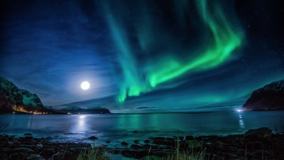 1920x1080 Aurora Borealis Moon Night Laptop Full HD 1080P HD 4k Wallpapers, Images, Backgrounds ...