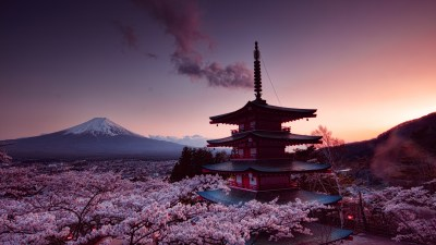 7680x4320 Churei Tower Mount Fuji In Japan 8k 8k HD 4k Wallpapers, Images, Backgrounds, Photos ...