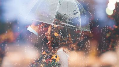 1920x1080 Married Couple Romantic Umbrella Raining Weeding Laptop Full HD 1080P HD 4k Wallpapers ...