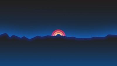 2048x1152 Minimalism Neon Rainbow Sunset Retro Style 2048x1152 Resolution HD 4k Wallpapers ...
