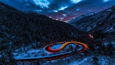 Long Exposure Lights Road Forest Snow 5k, HD Photography, 4k Wallpapers, Images, Backgrounds ...