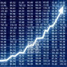 Stock market chart rising