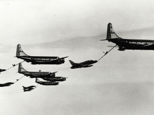"""In August 1964 these former Strategic Air Command KC-97Gs -- by then assigned to the Illinois Air National Guard's 126th Air Refueling Wing out of O'Hare International Airport -- refueled Air National Guard F-100D """"Super Sabres"""" in the first non-stop trans-Atlantic deployment of guard fighters to Europe (U.S. Air Force photo)"""