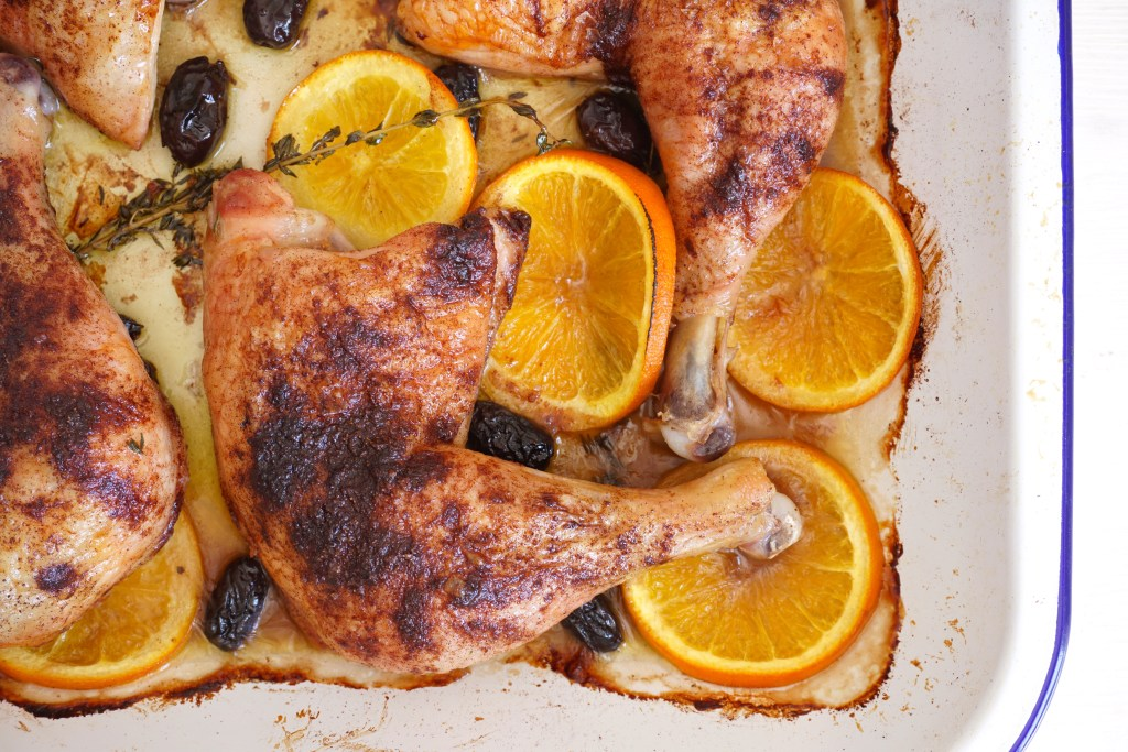 Spice Baked Chicken with Black Olives, Orange and Thyme - l:scape