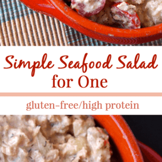 Simple Seafood Salad for One from HealthyHeleperBlog.com [gluten-free, high protein, healthy, healthy fats, seafood, recipe, lunch, dinner, healthy food, food, clean eating, real food]