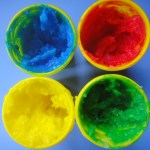 blue red yellow and green Homemade Finger Paints