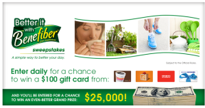 win a $100.00 American express gift card as well as a Benefiber Product,