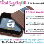 Enter to win The Pocket Sous Chef Giveaway 3 winners will be given amazon gift cards and the pocket sous chef ecard