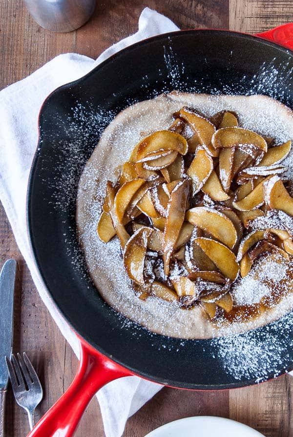 Vegan Dutch Baby with Caramelized Apples and Pears