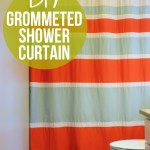 DIY Striped Shower Curtain with Grommets | Hearts & Sharts | www.heartsandsharts.com
