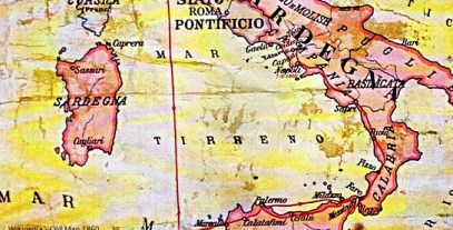 Old Map of Sardina, Italy