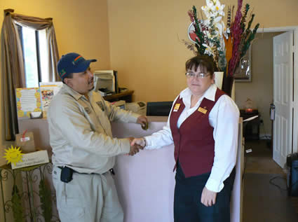 Given a warm hello to a hotel customer representative.