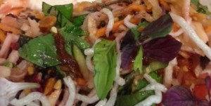 Vermicelli; daikon sprouts; pickled onion; micro greens in Asian Slaw Salad from Kid Lee.