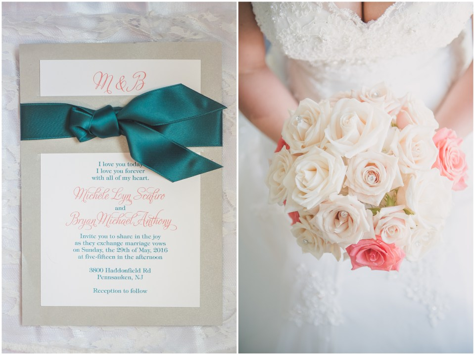 south jersey wedding photographer, white pink rose bouquet