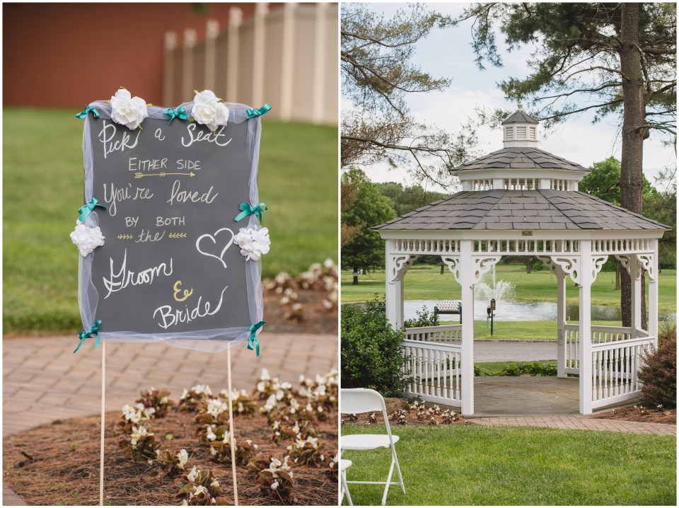 pennsauken country club, wedding ceremony, gazebo, south jersey, pick a seat not a side sign