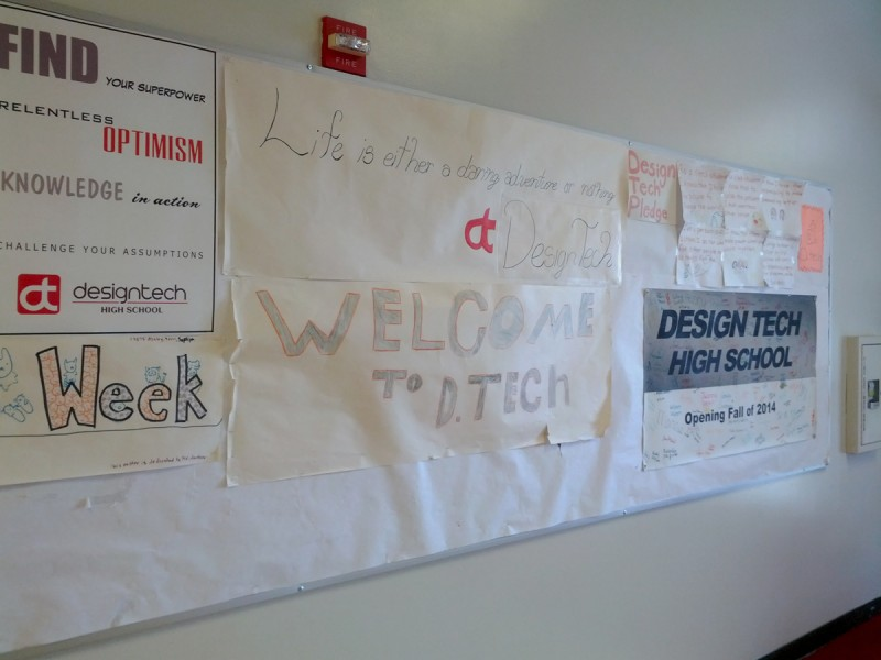 The hallway of the new Design Tech High School.