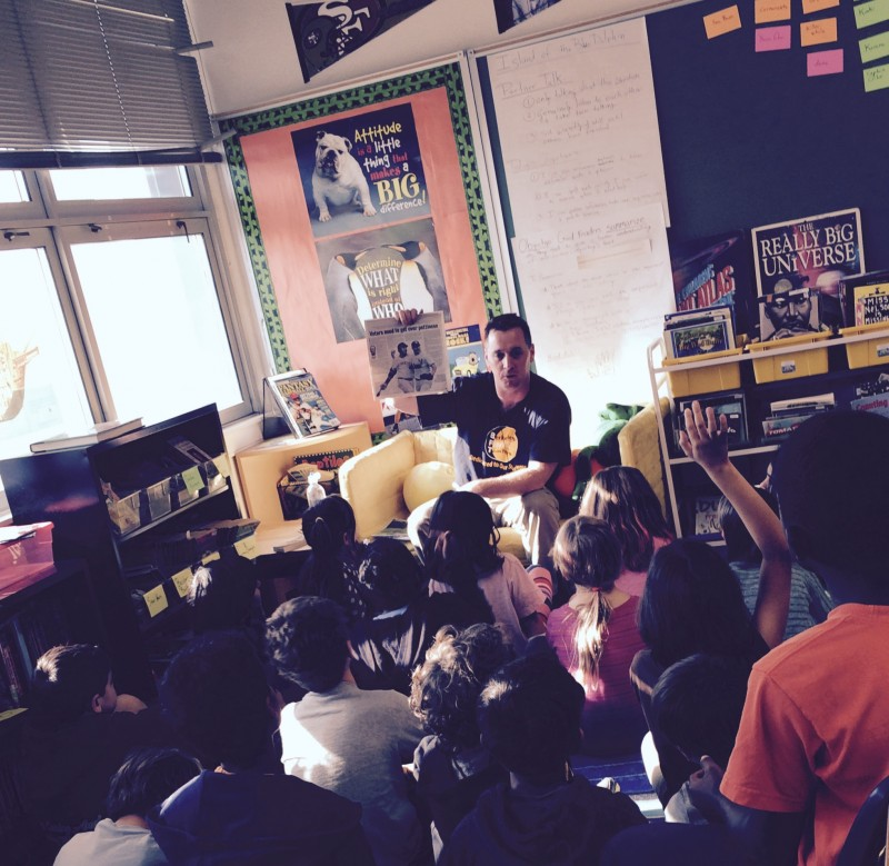 Fourth graders at Washington Elementary in Berkeley discuss an article in The San Francisco Chronicle about baseball ethics.