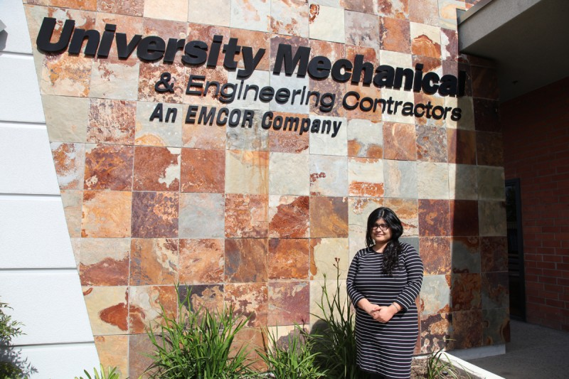Ana Sical, 25, stands outside University Mechanical in El Cajon, California, where she landed an engineering job.
