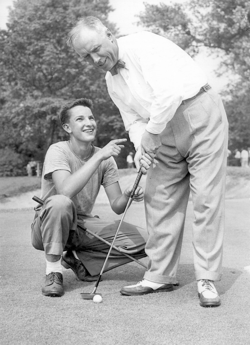 """Charles """"Chick"""" Evans Jr., in whose name a scholarship pays to send hundreds of students to college, with a caddie."""