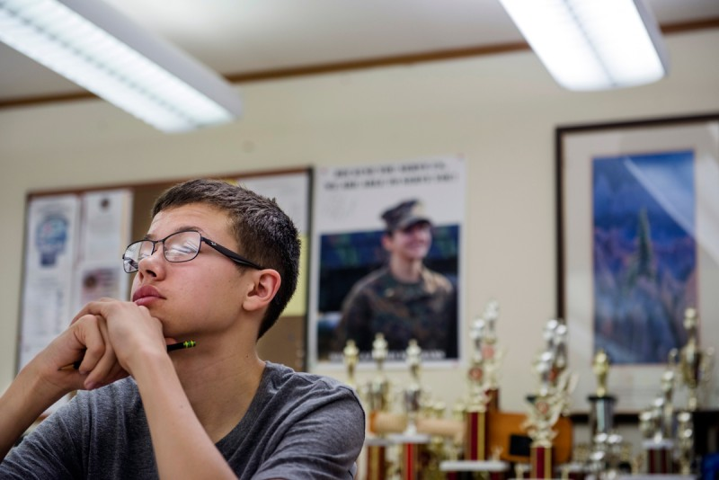 Conlan Schlaeppi, 15, attends a Marine Corps Junior ROTC class at Quantico Middle/High School on March 13, 2015 in Quantico, VA. In a typical year, about 80 percent of seniors in the Department of Defense Education Activity system say they plan to go to college after graduating.