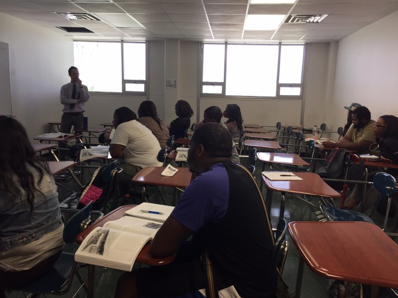 Walter Stern teaches at class in U.S. history through a special program at Southern University of New Orleans in April.
