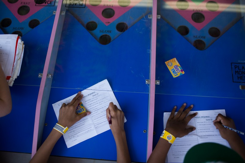 Students fill out games analysis worksheets at the Roll-A-Ball game during a trip to Coney Island in Brooklyn, NY May 28, 2015. The group of students from Quest to Learn School took the day trip to Coney Island to analyze user experience on games and rides at Luna Park as part of their late-spring school curriculum.