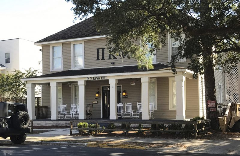 The Pi Kappa Phi fraternity house is seen near Florida State University in Tallahassee, Fla. University President John Thrasher announced the indefinite suspension of the school's 55 fraternities and sororities following the death of a freshman pledge. Andrew Coffey, a pledge at Pi Kappa Phi, died Friday after he was found unresponsive following a party.
