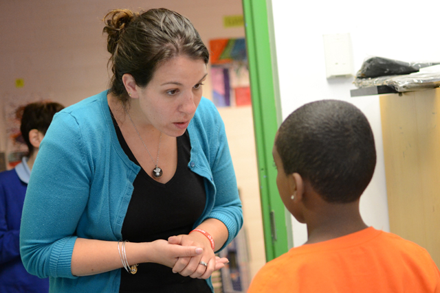 Teacher Melissa Rhone credits extra peer collaboration time with helping her grow from a struggling teacher to a mentor. (Photo: Melissa Bailey)
