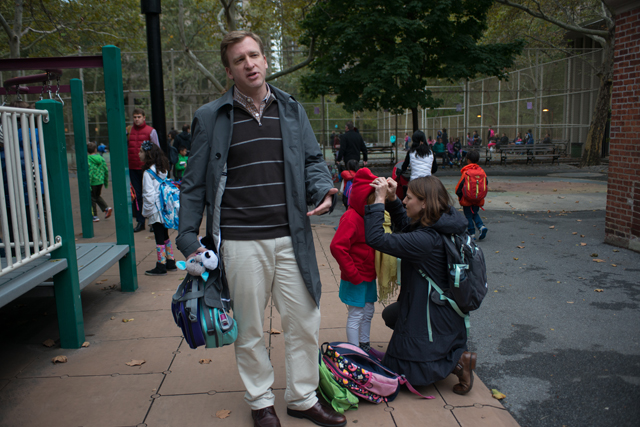 Jason Zimba, one of the writers of the Common Core math standards, with his daughters Abigail and Claire outside of their elementary school in Manhattan. (Photo: Julienne Schaer)