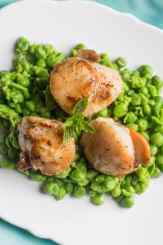 Scallops on Smashed Minted Peas